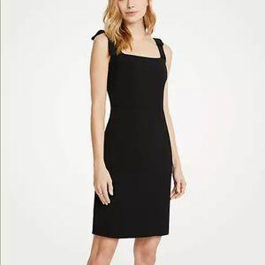 Ann Taylor Bow Strap Sheath Dress Black